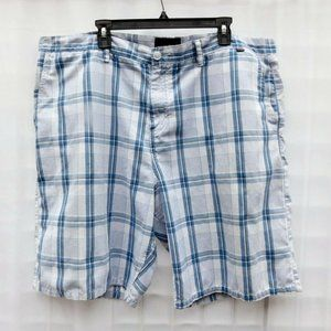 Hurley Plaid Shorts Sz 44, Measures 46 Blue White